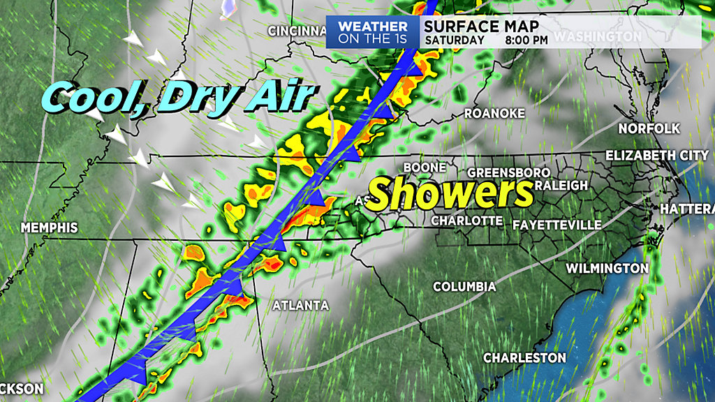Cold Front On Weather Map.Strong Cold Front Moves Through Over Weekend