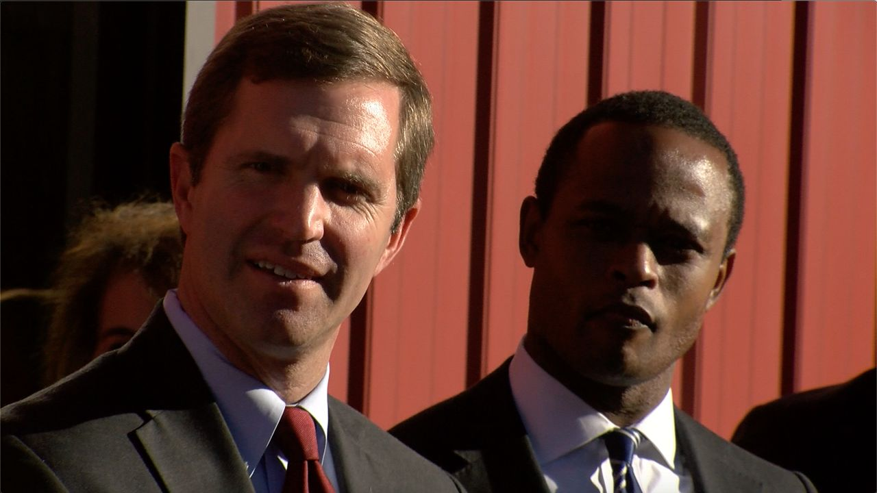 Attorney General Daniel Cameron and Gov. Andy Beshear