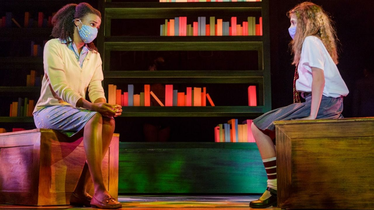 "Lillie Eliza Thomas (Miss Honey) and Carson Holley (Matilda) in ""Matilda"" at the Garden Theatre. (Garden Theatre)"
