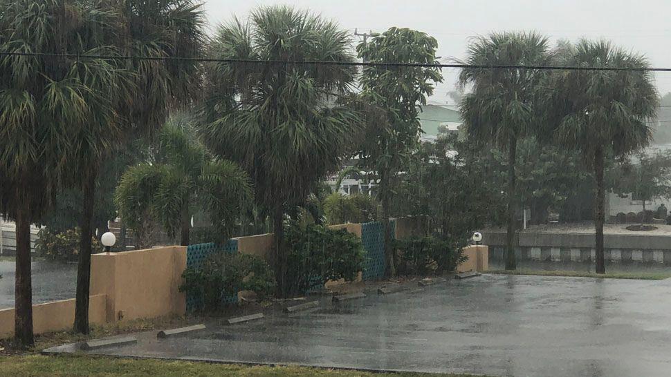 Heavy rain seen coming down in Treasure Island. (Courtesy of Arianna Cook, viewer)