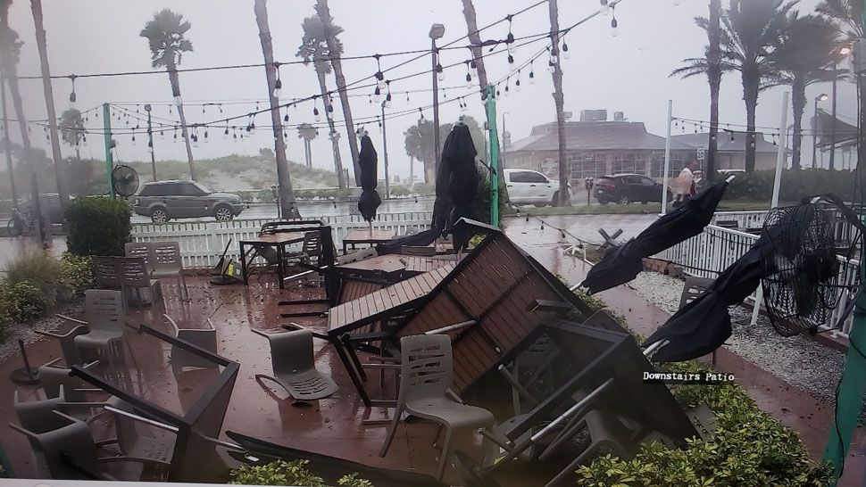 Damage and debris strewn across the patio at Crabby's on Clearwater Beach (Courtesy of Walter Miller, viewer)