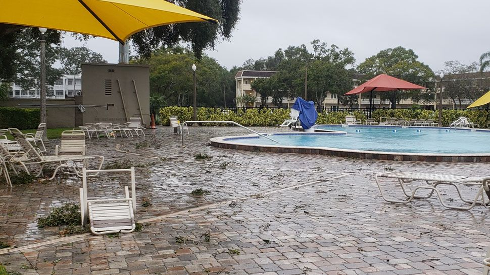 Damage around community pool at On Top of the World Communities in Hernando County (Courtesy of Anna, viewer)