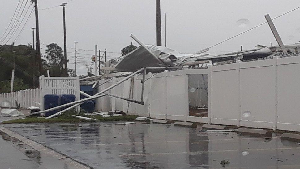 Tornado damage seen at Boulevard Club off Starkey Road in Largo (Courtesy of James Michael, viewer)