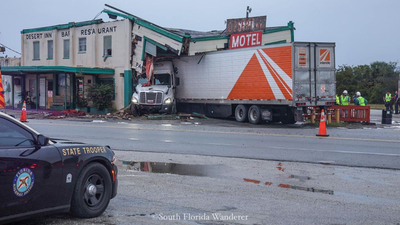 The Desert Inn and Restaurant, located at 5570 South Kenansville Rd., Yeehaw Junction, suffered damage after a semitractor-trailer crashed into it on Sunday, December 22, 2019. (Facebook user South Florida Wanderer)