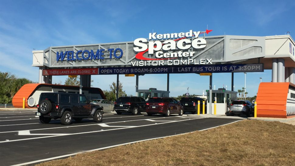 Cars will once again drive through the toll plaza at the Kennedy Space Center Visitor Complex starting next week. (File)