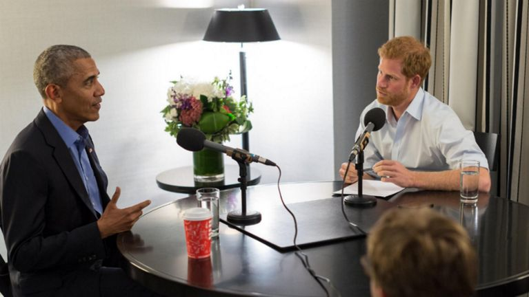 Image result for Barack Obama, prince Harry, interview, photos