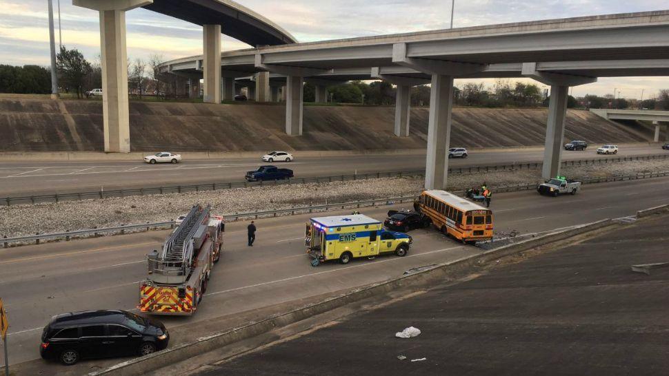 School Bus Crash Sends 2 to Hospital, Causes Major Delays