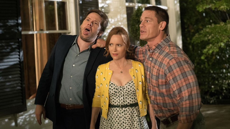 "(L to R) IKE BARINHOLTZ, LESLIE MANN and JOHN CENA star in ""Blockers,"" the directorial debut of Kay Cannon (writer of the ""Pitch Perfect"" series).  When three parents discover their daughters' pact to lose their virginity at prom, they launch a covert one-night operation to stop the teens from sealing the deal."