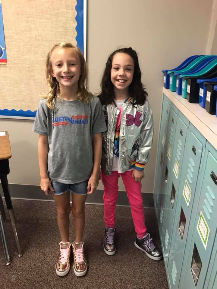 Shea and Adair are best friend ready for their first day of 3rd grade at Cypress Elementary School. They are lucky to both be in the same class again this year.
