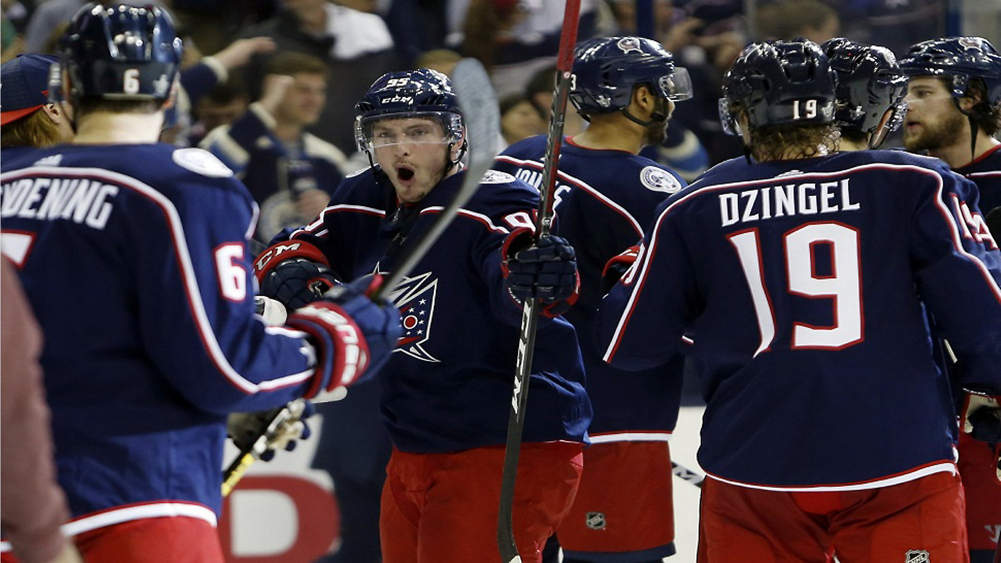 da6c993f5f7 Columbus Blue Jackets  forward Matt Duchene celebrates the team s win over  the Tampa Bay Lightning
