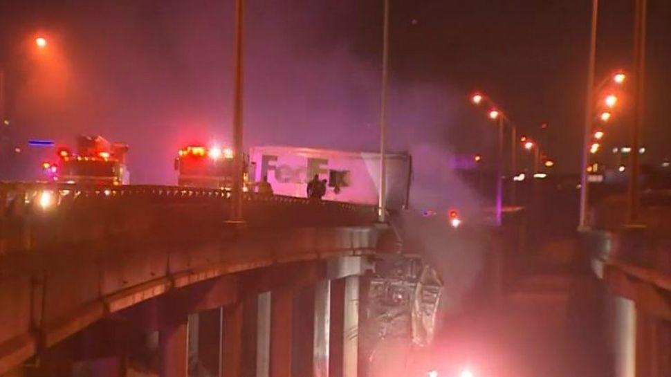 FedEx driver killed in fiery crash on I-45