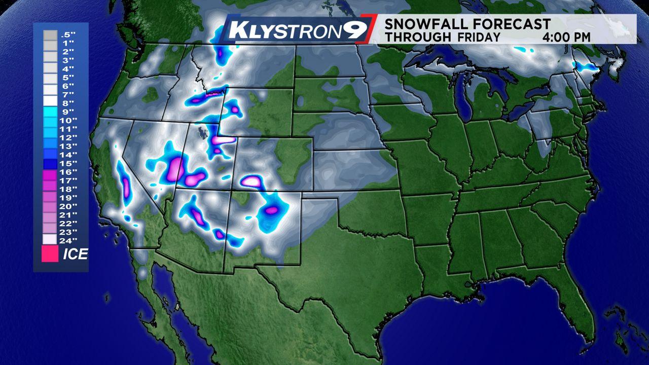 Snowfall forecast through Friday 4 p.m.