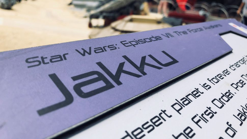 """The story of """"The Force Awakens,"""" on the Planet Jakku. This new display sits on an island in the middle of all the Miniland Star Wars universes, it's made up of more than half a million LEGO bricks."""