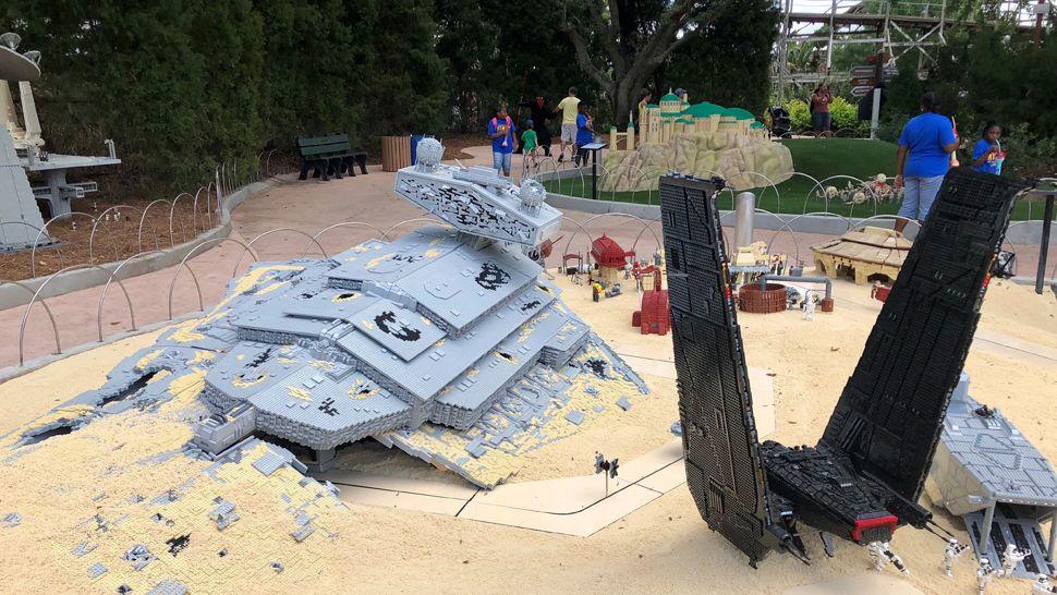 A shot of the battleship graveyard and Kylo Ren's sleek black ship. (Virginia Johnson, staff)