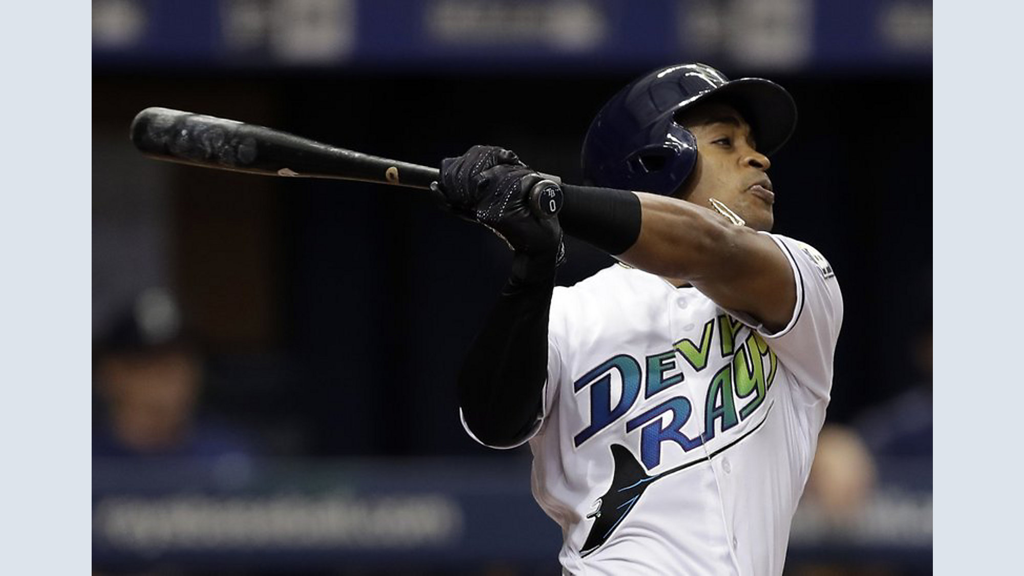 23a2ad321 Mallex Smith follows through on his RBI triple off Mariners starting  pitcher Felix Hernandez during the