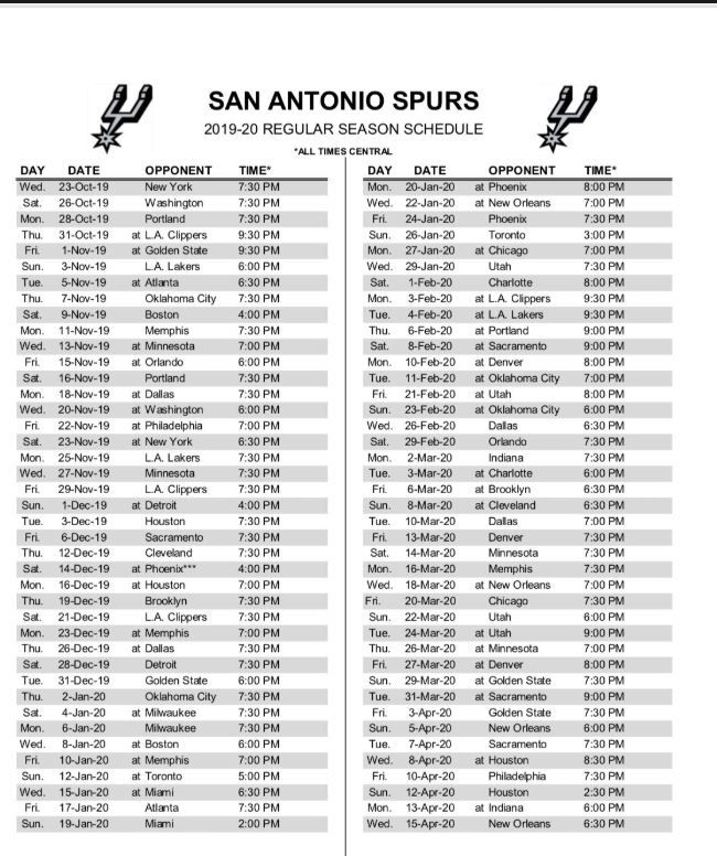 This is an image of Massif San Antonio Spurs Schedule Printable