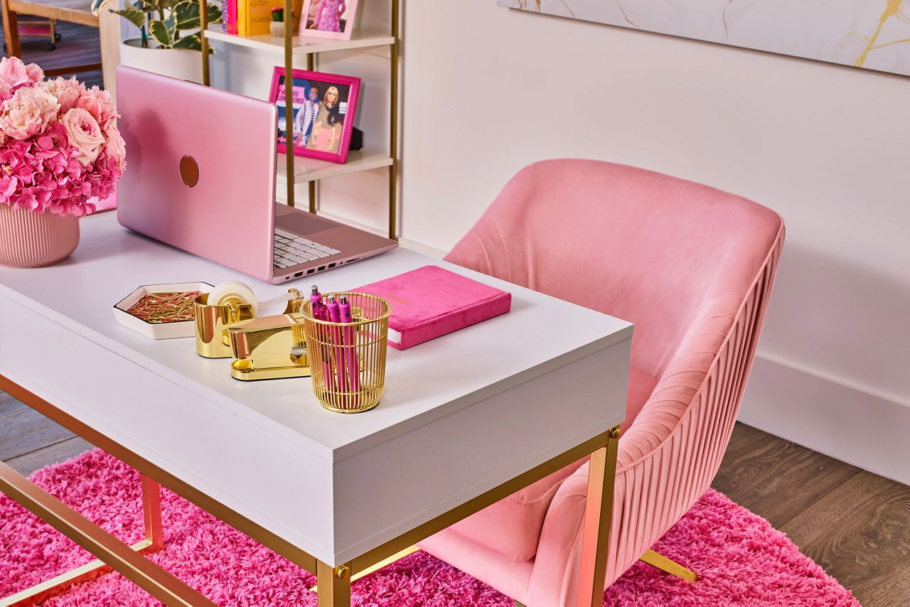 Barbie's desk is fit for any boss or entrepreneur.
