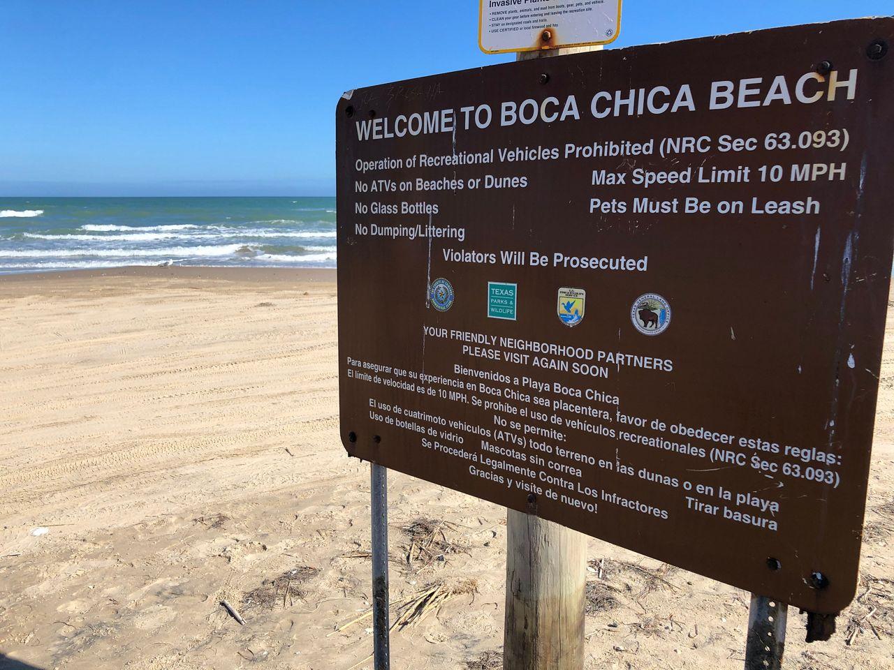 Boca Chica Village sits against the Gulf Coast and Space X's rocket test site. (John Salazar/Spectrum News 1)