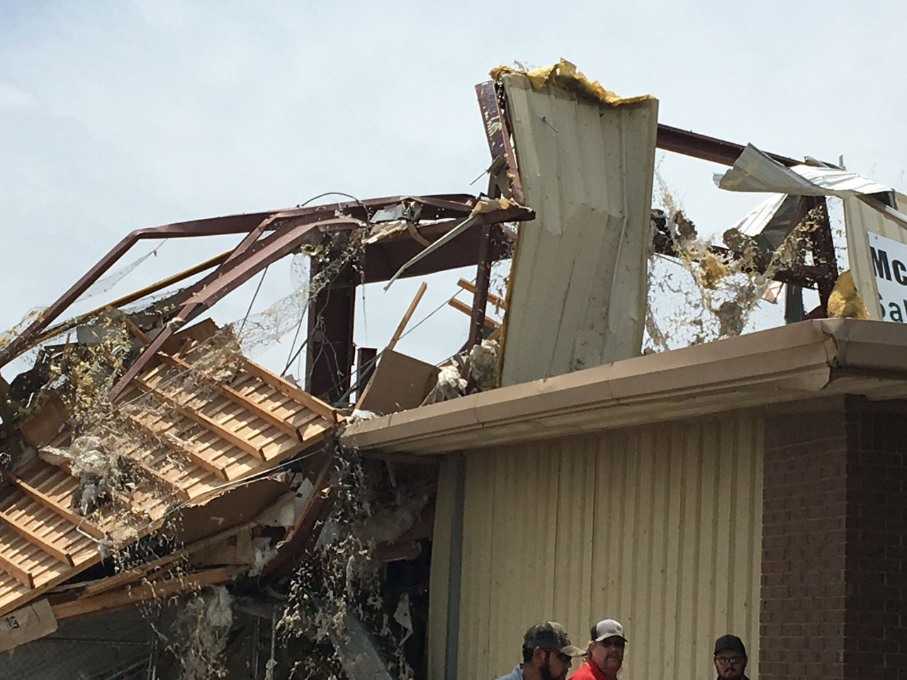 Up-close photo of the damaged roof.