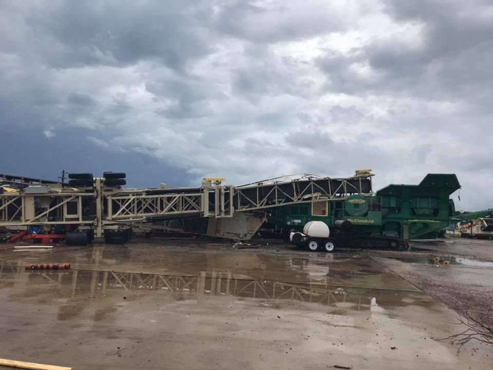 Crane collapsed at a construction site in Fayette County after 2 morning tornadoes.