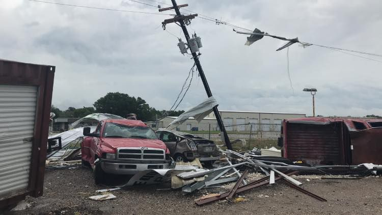 Several cars were totaled in 2 Fayette County tornadoes.