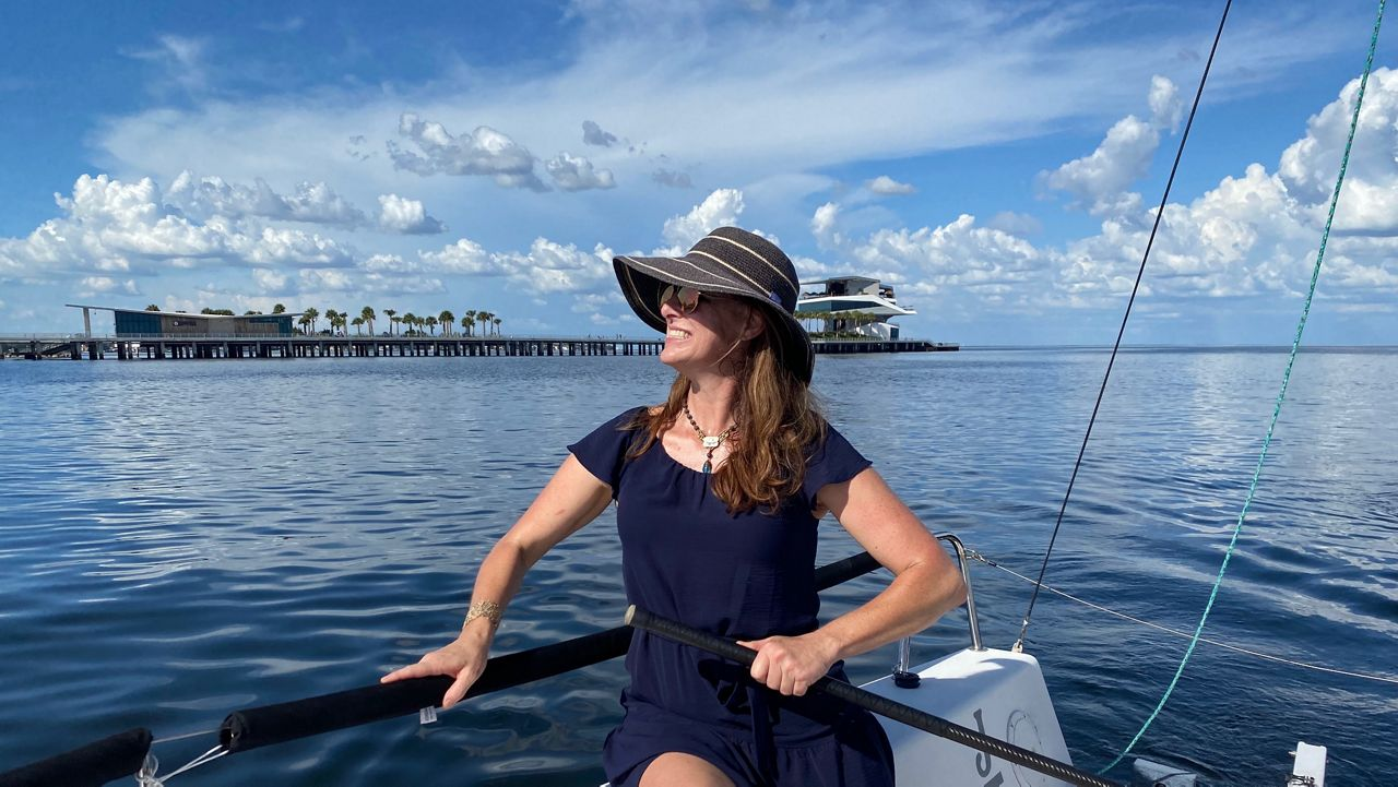 Spectrum Bay News 9 reporter Virginia Johnson getting a sailing lesson from St. Pete Sailing Center (Spectrum News/Bobby Collins)