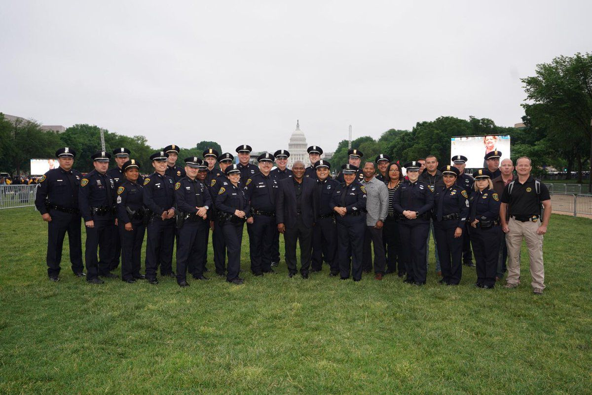 Houston Police officers are in Washington D.C. on May 15, 2018 for the nationwide Peace Officers Memorial during Police Week.