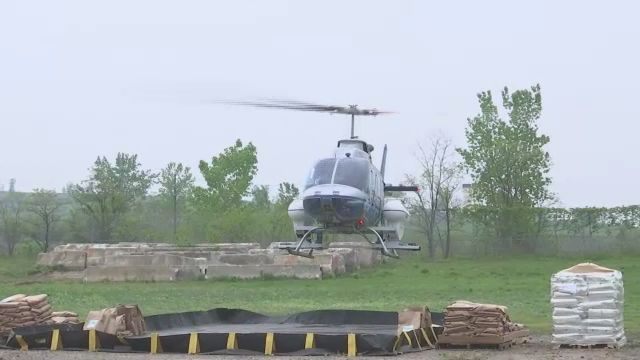 Helicopter Crews Take off From Staten Island for Mosquito