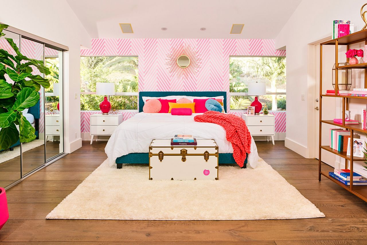 All of the bedroom decor was hand-picked in Barbie's style.
