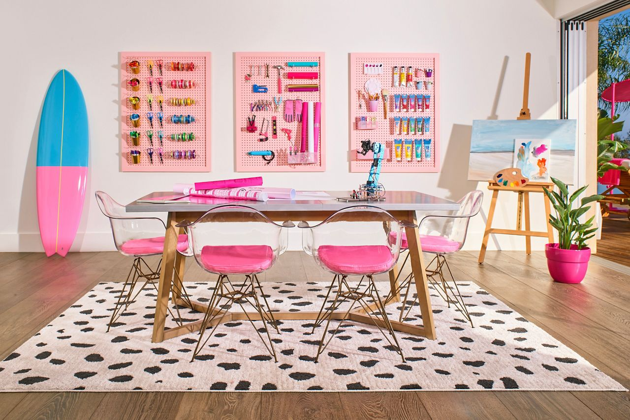 Barbie's hobby room offers a great space for makers to craft.