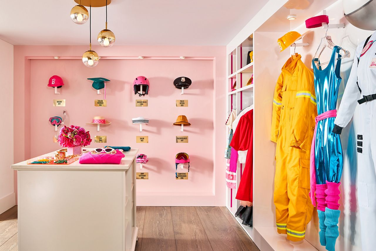 Barbie's closet features the outfits from all of her professions over her 60 years working numerous jobs, from astronaut to doctor.