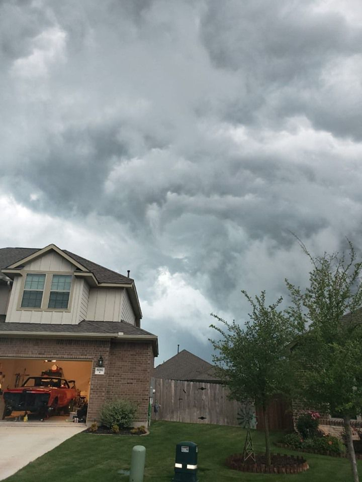 Clouds swirling over a house in Round Rock.