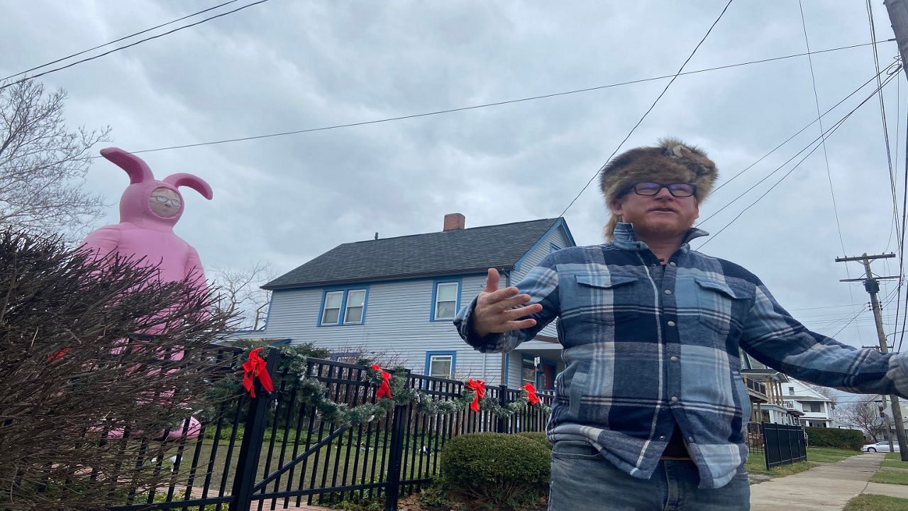 Zack Ward in front of the Christmas Story house
