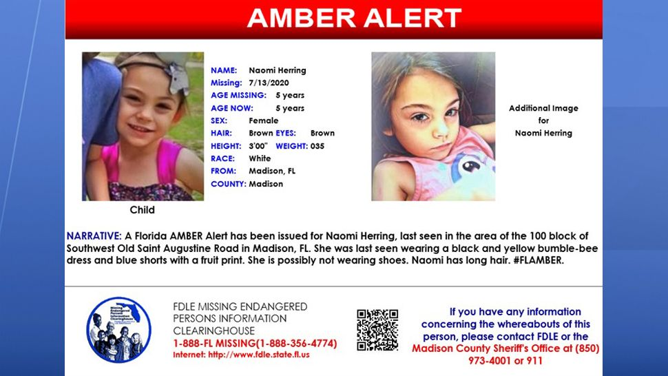 Fdle Missing 5 Year Old From Amber Alert Found Safe