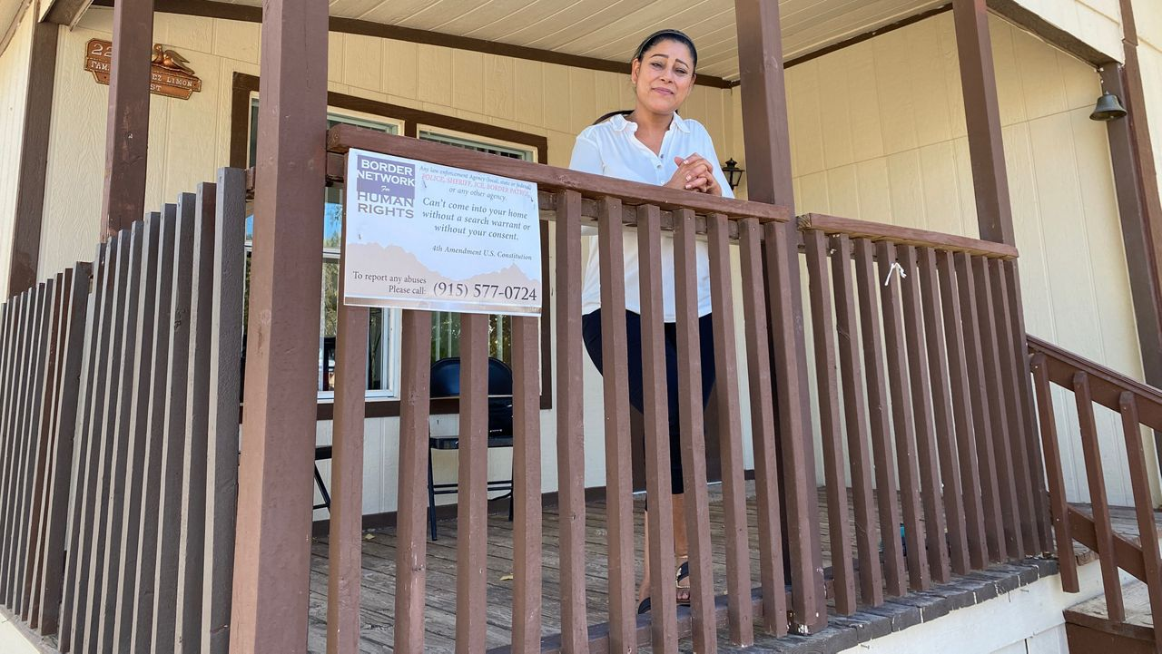 Lourdes Limon stands on the front porch of her Sunland Park, N.M., home. In the last four years, the U.S. Customs and Border Patrol has increased its visits and home searches in her neighborhood of mostly Hispanic families living right on the border between Texas, New Mexico, and the city of Juarez, Mexico. (Photo by Sabra Ayres/ Spectrum News)