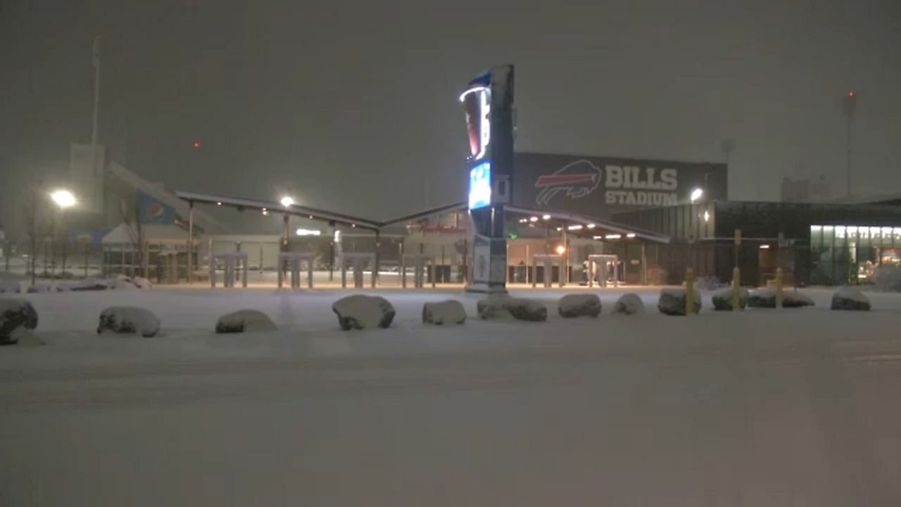 Bills Stadium saw snowfall overnight.