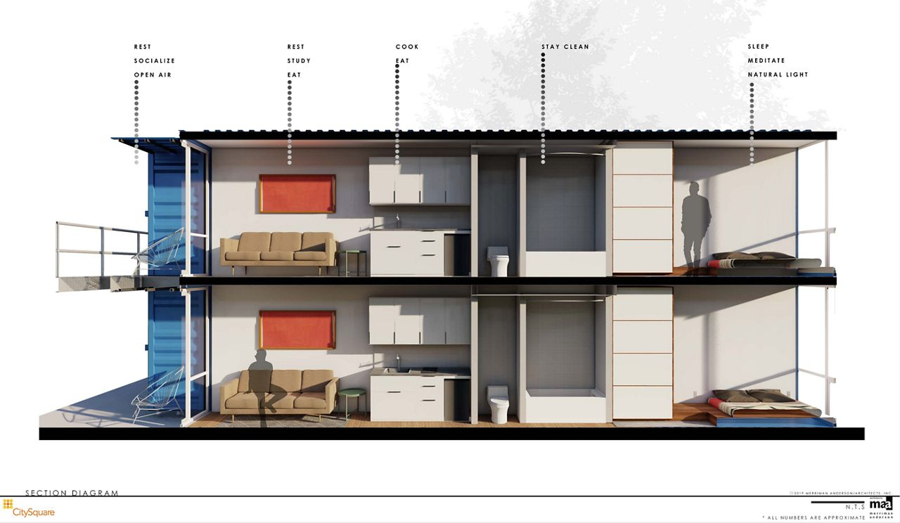 Sectional view of container home (credit: Merriman Anderson Architects)