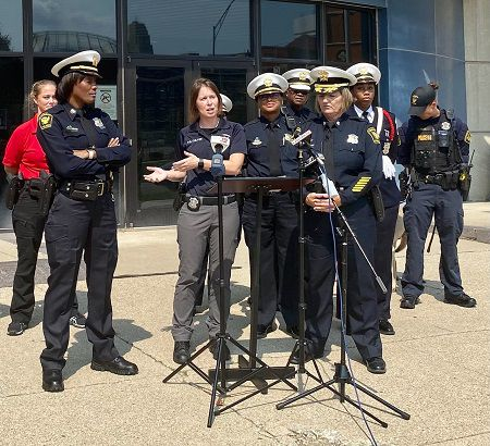 Police Officer Jennifer Chilton talks at a CPD press conference announcing the 30x30 Pledge (Casey Weldon   Spectrum News 1)