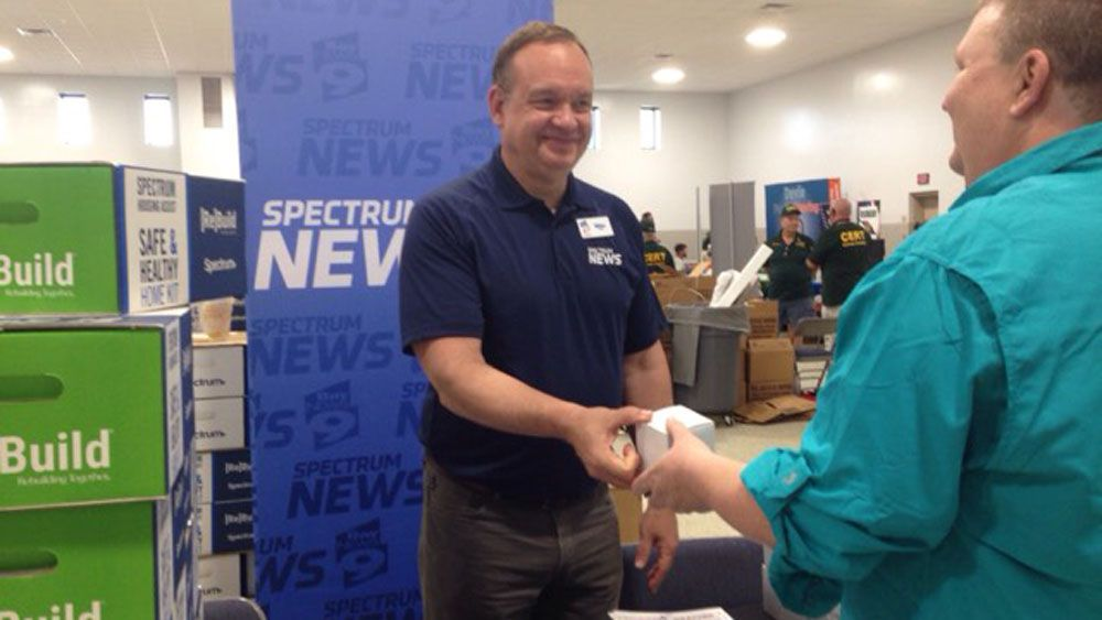 Chief Meteorologist Mike Clay greets attendees at the All Hazards and Hurricane Expo in Crystal River Saturday. (Deirdre Treacy, Spectrum News)