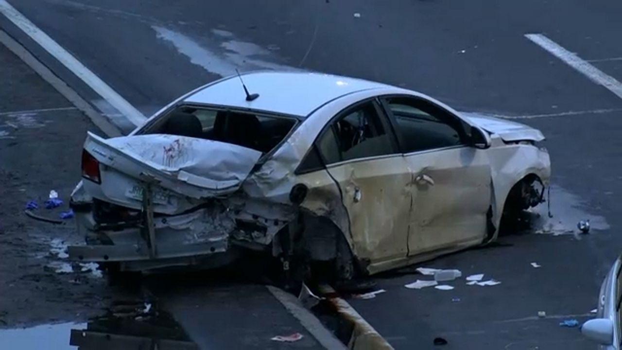 Chain-reaction vehicle crash on Van Wyck Expressway