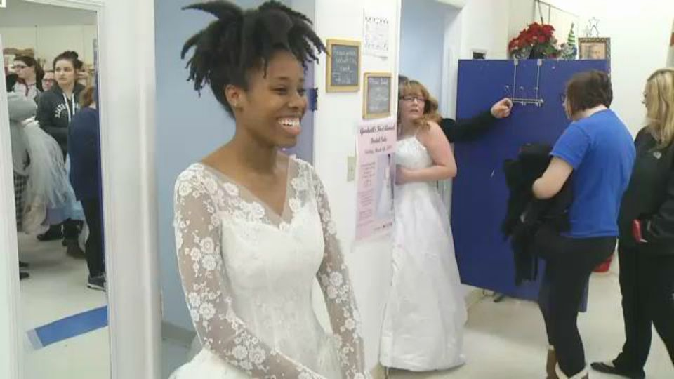 Brides say yes to the dress at Goodwill\'s first bridal sale