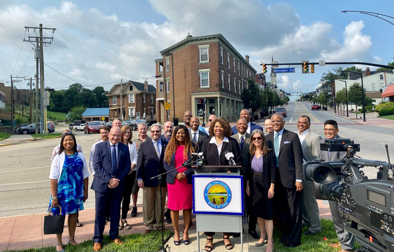 Project partners gather for a photo following the launch of 513 Small Business Assist (Casey Weldon/Spectrum News 1)