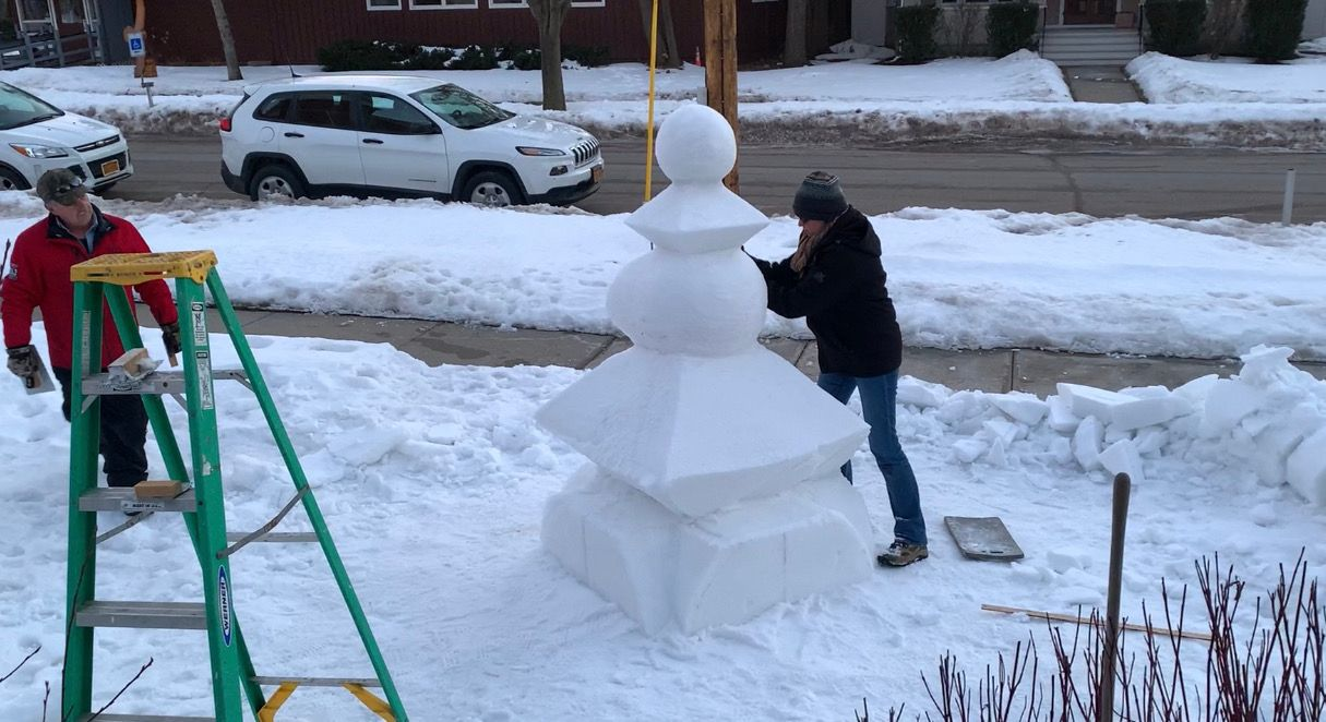 Artists Sculpting Snow in Clayton