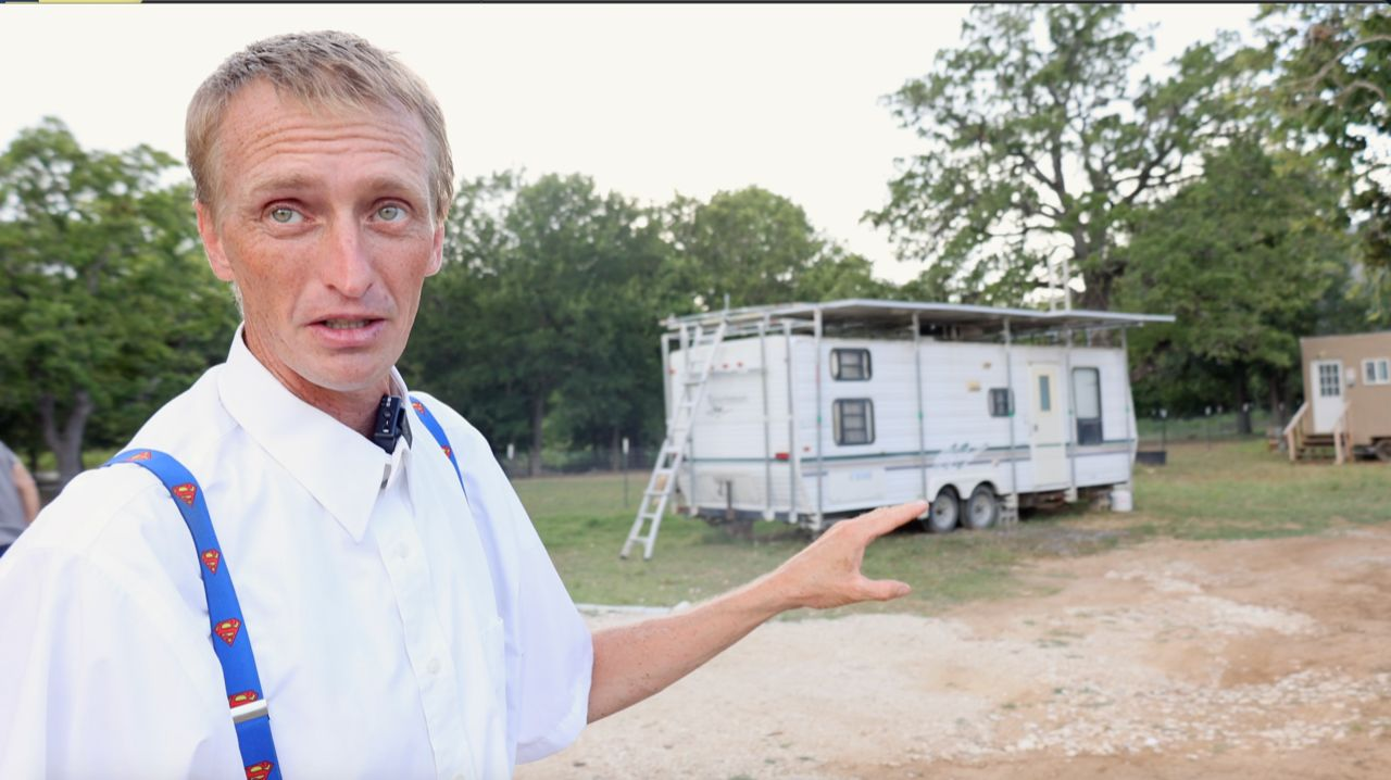 Josiah Ingalls appears at his property in Austin, Texas, in this image from July 2021. (Spectrum News 1/Lakisha Lemons)