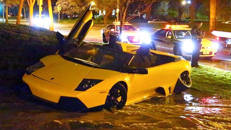 Lamborghini Driver Flees Scene After Crashing Into Hydrant