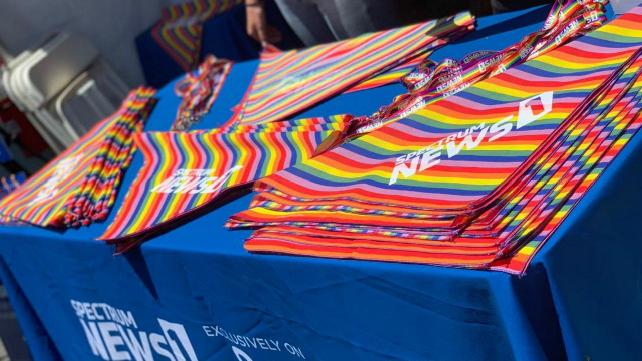 Spectrum News 1 booth at LA Pride on June 8, 2019