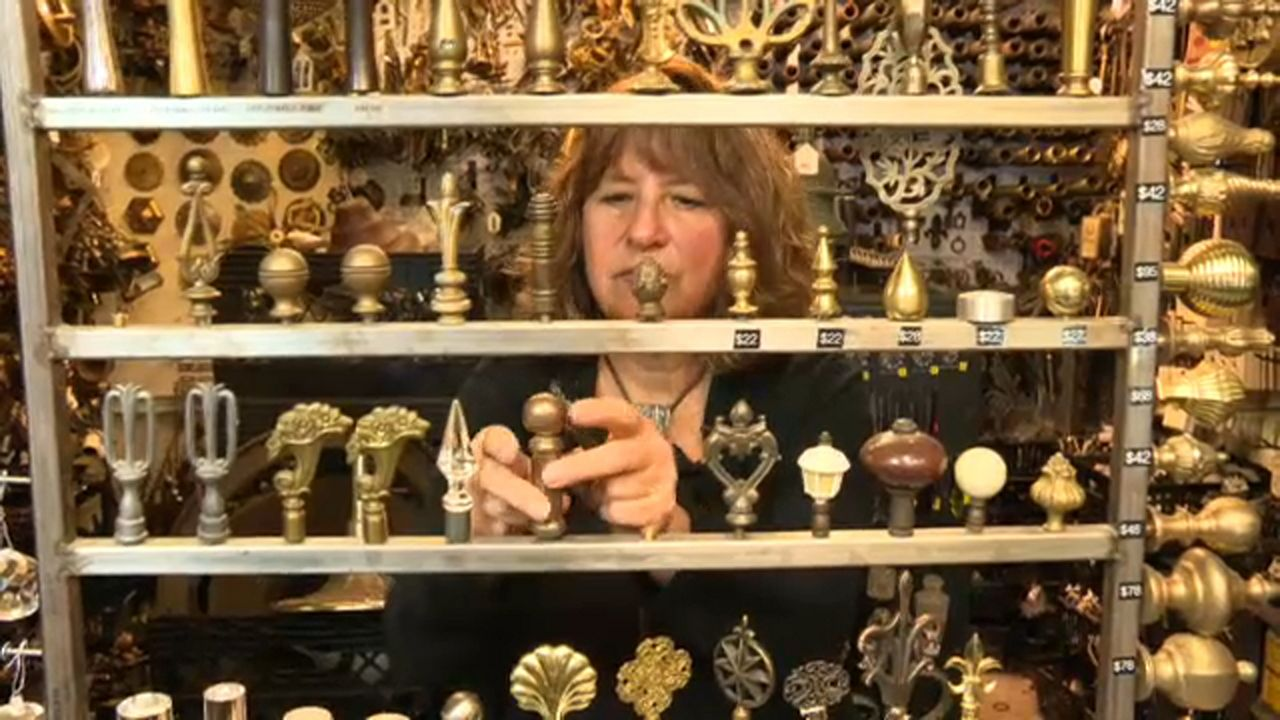 Owner Liz Gordon organizes thousands of pieces of door hardware.