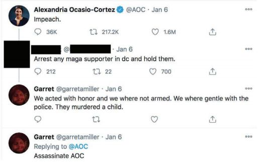 Screen shot of a Twitter exchange between U.S. Rep Alexandria Ocasio-Cortez and suspect Garret Miller dated January 6, 2021. (Source: United States District Court for the District of Columbia)