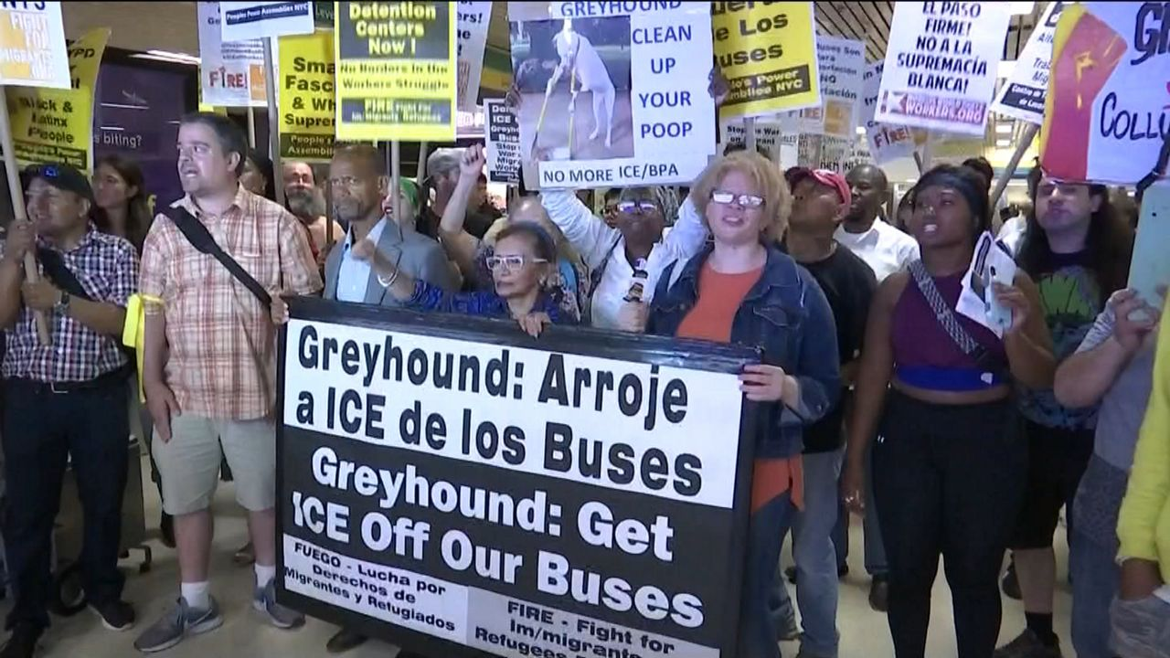 "Protestors: ""Greyhound: Get ICE Off Our Buses"""