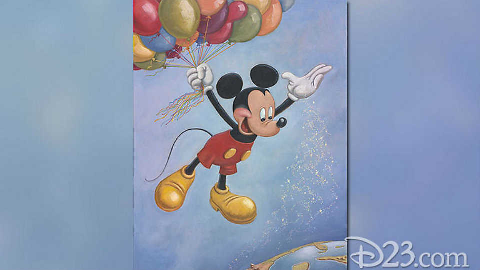 "Mickey Mouse's birthday portrait titled ""Spreading Happiness Around the World"" created by animator Mark Henn. (D23)"